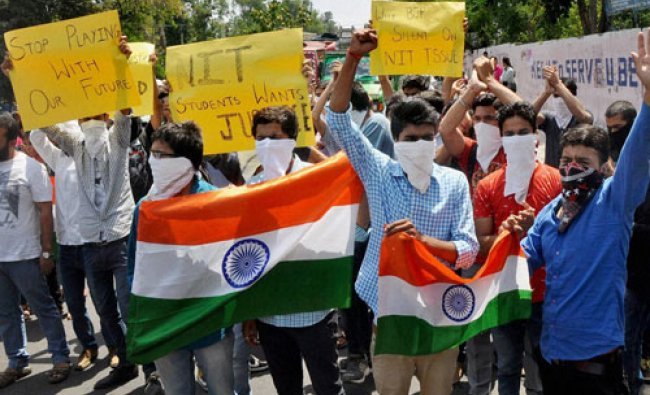 Students holding a protest rally over the NIT Srinagar issue in Jammu on Wednesday...