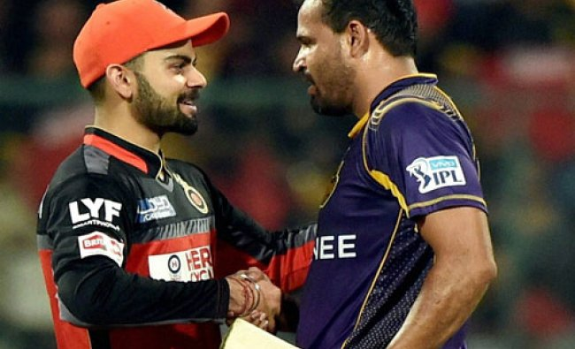 RCB Skipper congratulates KKR\'s Yusuf Pathan after KKR win during the IPL 2016...
