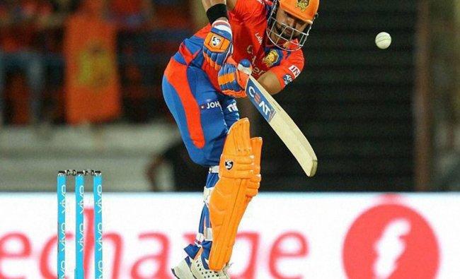 Suresh Raina captain of Gujrat Lions plays a shot during an IPL 2016 match against Delhi...