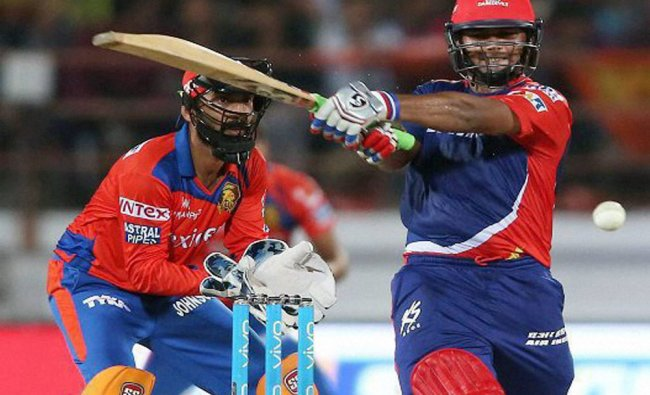 Rishabh Pant of Delhi Daredevils plays a shot during IPL 2016 match against Gujarat Lions ...