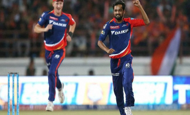 Shahbaz Nadeem of Delhi Daredevils celebrates getting Aaron Finch of Gujarat Lions wicket during...