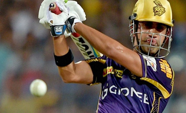 KKR batsman Gautam Gambhir plays a shot during IPL match against Kings XI Punjab at Eden Garden...