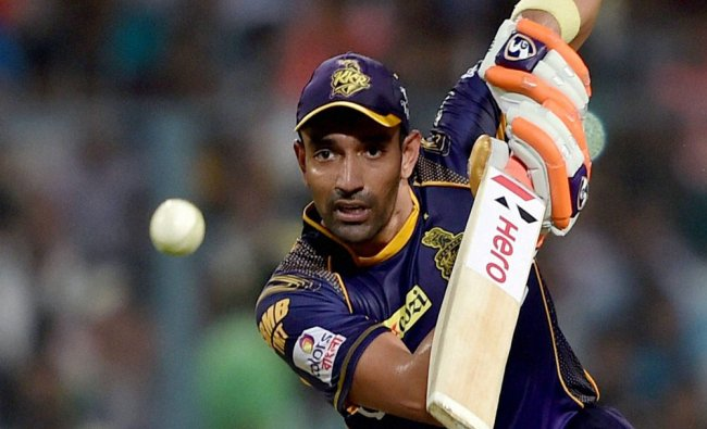 KKR batsman Robin Uthappa plays a shot during IPL match against Kings XI Punjab at Eden Garden...