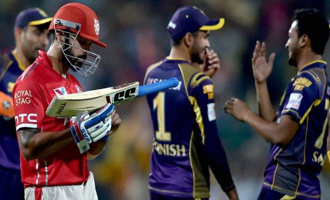 Kings XI Punjab captain M.Vijay returns to the pavilion after dismissed during IPL Match against...