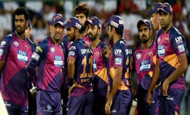 Rising Pune Supergiants player celebarate the wicket of Delhi Daredevils batsman J P Duminy...
