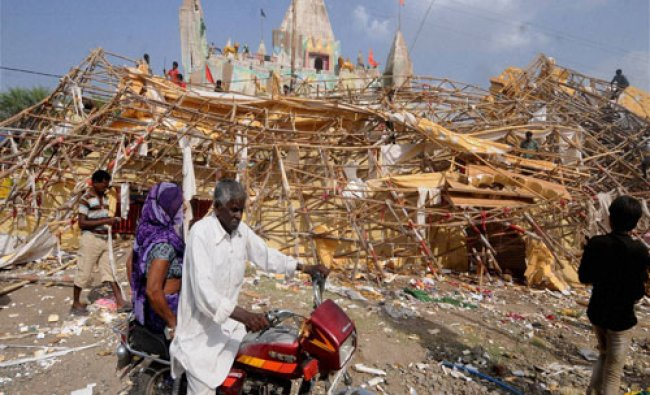 A collapsed pandal at Simhastha Mahakumbha Mela in Ujjain on Friday, a day after thunderstorm...