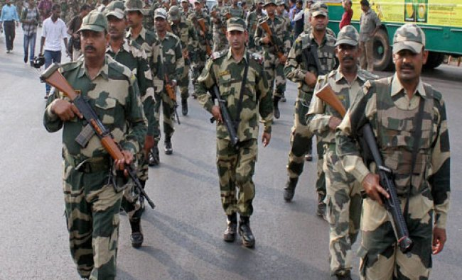 BSF men take out a march ahead of Assembly elections in Kozhikode on Friday...