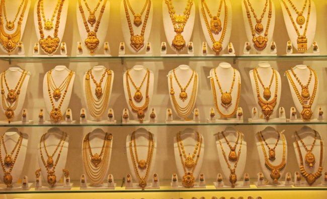 Gold jewellery at Sai Gold Palace, DVG road, Basavanagudi in Bengaluru...