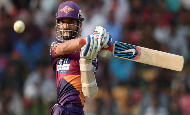 Rising Pune Supergiants Ajinkiya Rahane plays a shot during the IPL T20 match against Royal...