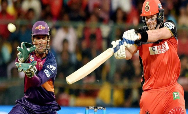 Royal Challengers Bangalore\'s Shane Watson plays a shot during the IPL T20 match against Rising...