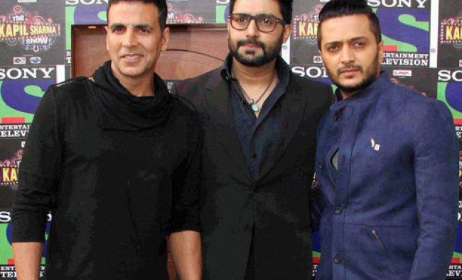 Akshay Kumar, Riteish Deshmukh and Abhishek Bachchan promote their film Housefull 3...