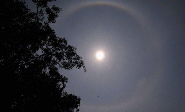A halo around the sun seen in Guwahati on Tuesday, May 10, 2016...