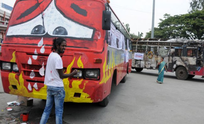 Badal Nanjundaswamy turns a KSRTC bus into his canvas as part of a public awareness campaign...