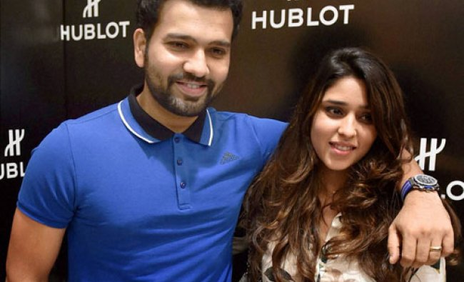 Rohit Sharma with his wife Ritika Sharma during a promotional event for Hublot...