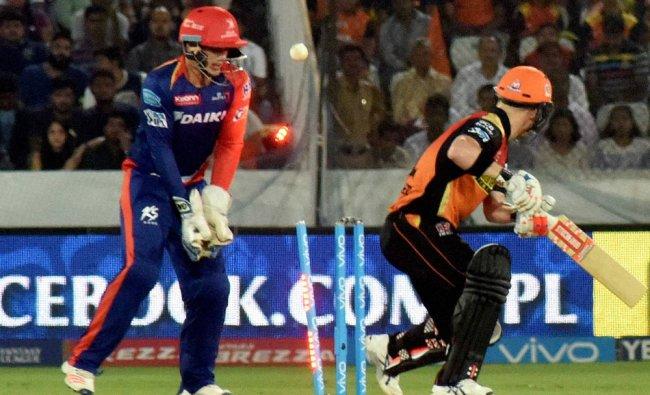 Sunrisers Hyderabad captain David Warner gets clean bowled...