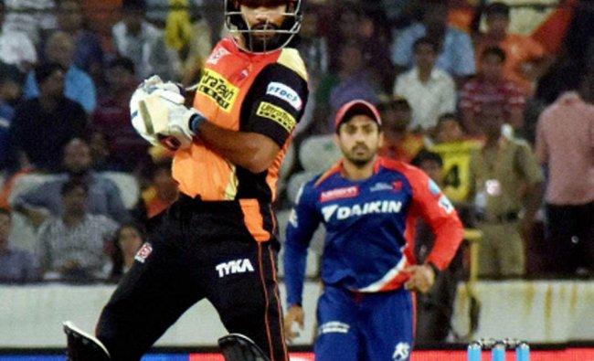 Shikhar Dhawan plays a shot against Delhi Daredevils...