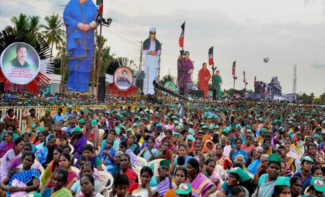 People gather in huge numbers at an election campaign venue of Tamil Nadu Chief Minister...