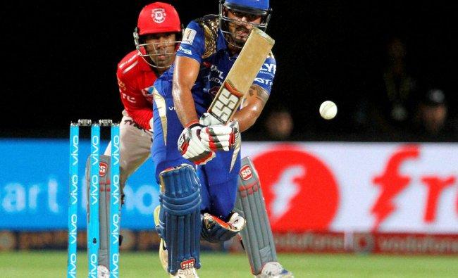 Mumbai Indians Nitish Rana plays a shot during an IPL 2016 match against Kings XI Punjab...