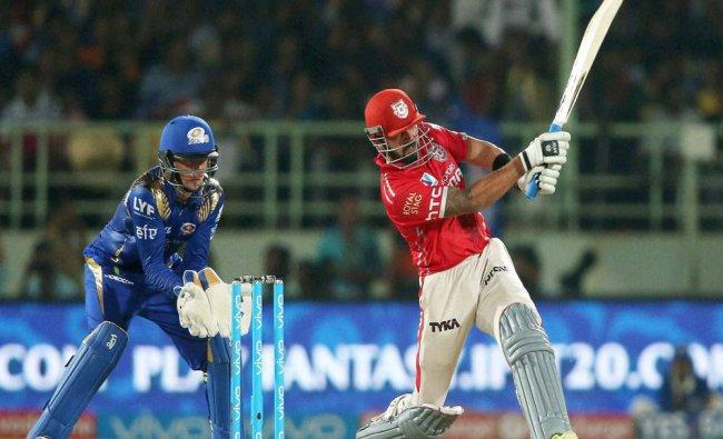 Kings XI Punjab captain Murli Vijay plays a shot during match IPL 2016 against Mumbai Indians ...