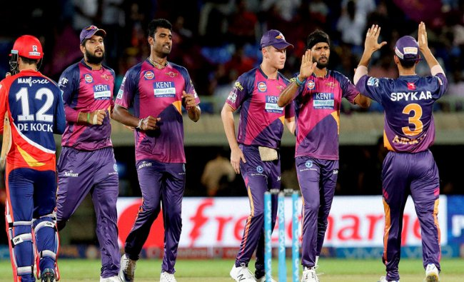 Rising Pune Supergiants players celebrates a wicket of Delhi Daredevils during match a IPL 2016...