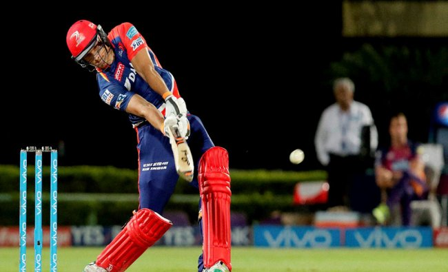 Christopher Morris of Delhi Daredevils plays a shot during a IPL 2016 match against Rising Pune...