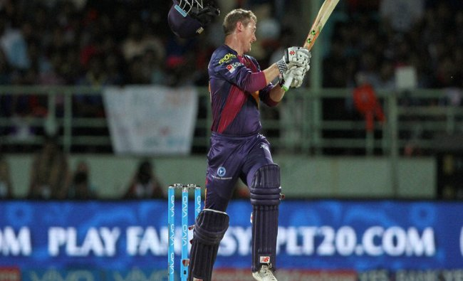 George Bailey of Rising Pune Supergiants plays a shot during a IPL 2016 match against Delhi ...