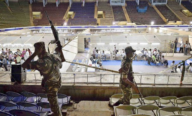 Tight security at Netaji Indore Stadium counting center on eve of West Bengal Assembly Election...