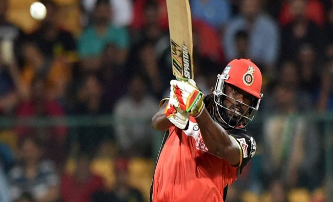 Royal Challengers Bangalore\'s Chris Gayle plays a shot during an IPL 2016 match against Kings...