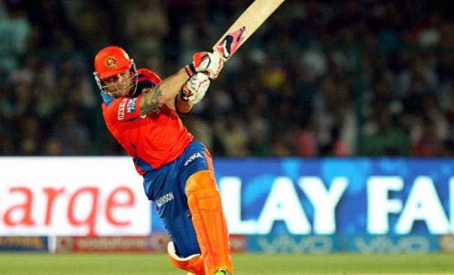 Gujarat Lions player Brendon McCullum plays a shot during an IPL 2016 match...