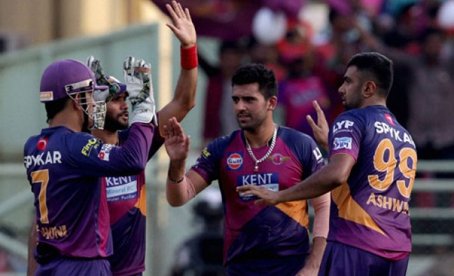 Ravichandran Ashwin of Rising Pune Supergiants celebrate with team mates...