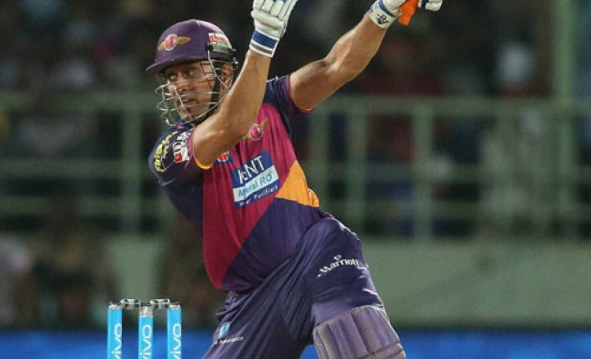 Rising Pune Supergiants captain MS Dhoni plays a shot during an IPL 2016...