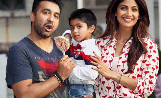 Bollywood actor Shilpa Shetty with husband Raj Kundra celebrate their son Viaan\'s birthday...