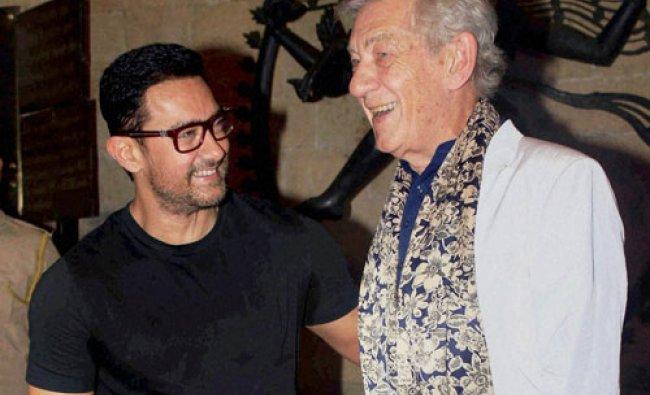 English actor Sir Ian McKellen and Bollywood actor Aamir Khan share lighter moments...