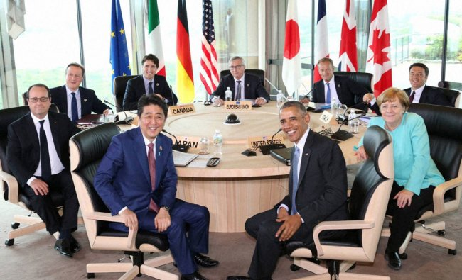 World leaders at the start of the second working session of the G-7 summit meetings in Shima...
