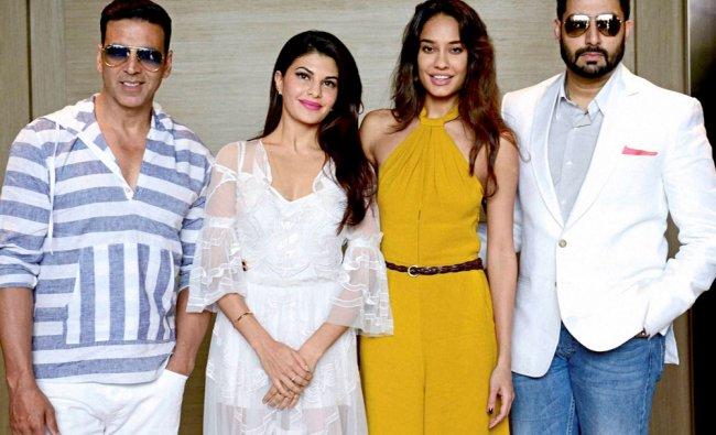 Akshay Kumar, Jacqueline, Liza Headen and Abhishek at a promotional event of \'Housefull 3\'...