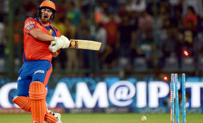 Aaron Finch clean bowled by Ben Cutting during an IPL T20 match against SRH...