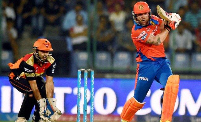Brendum McCullam plays a shot during an IPLT20 match against Sunrisers Hyderabad...