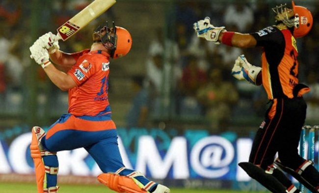 Aaron Finch plays a shot during an IPL T20 match against Sunrisers Hyderabad...