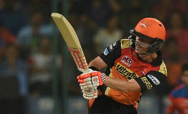 David Warner plays a shot during an IPL T20 match against Gujarat Lions...