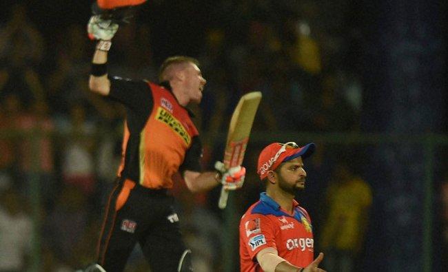 David Warner celebrate after winning during an IPL T20 match...