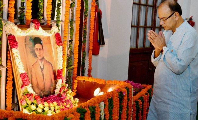 Union Minister of Finance Arun Jaitley paying floral tribute to Vinayak Damodar Savarkar...