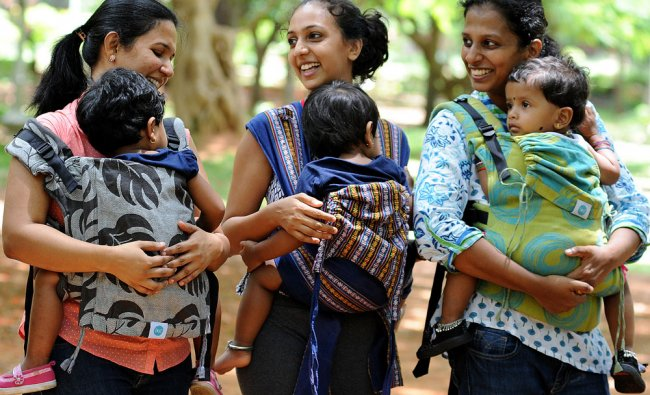 A Group of Bengaluru Mothers getting prepared for the Babywearing dance to be held next month...