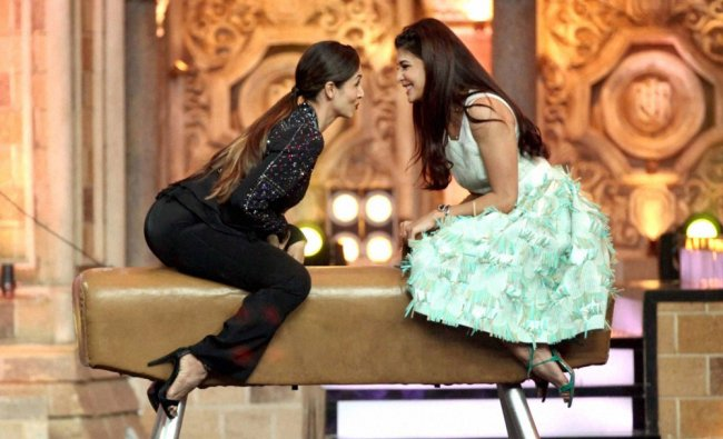 Bollywood actress Jacqueline Fernandez with Malaika Arora Khan on the sets of a TV show...