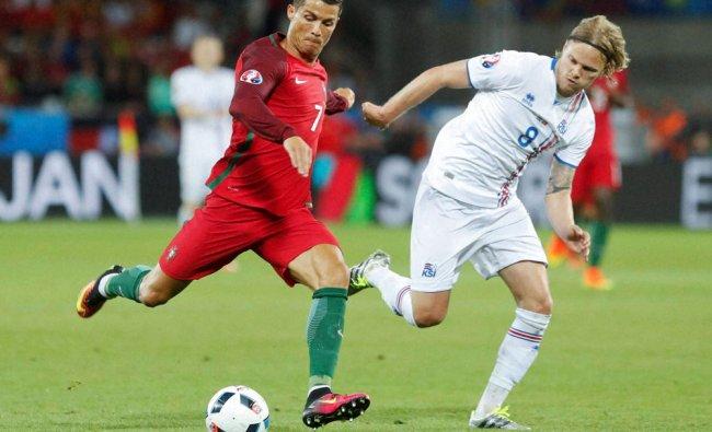 Portugal\'s Cristiano Ronaldo, left...