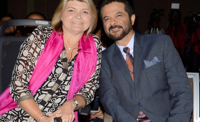 Bollywood Actor Anil Kapoor with IBM\'s worldwide GM Sandy Carter...