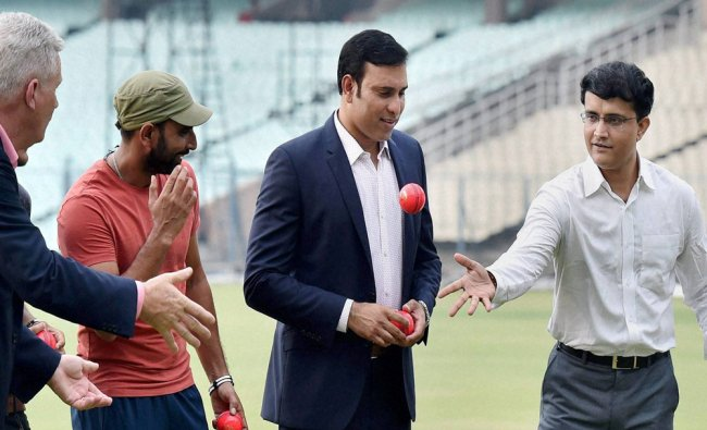 Sourav Ganguly, Dean Jones, VVS Laxman and Mohammad Shami after a panel discussions on Pink Ball...