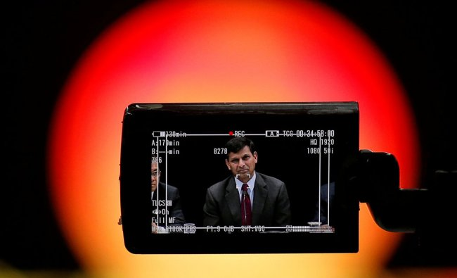 Reserve Bank of India (RBI) Governor Raghuram Rajan is seen in a TV camera\'s viewfinder...