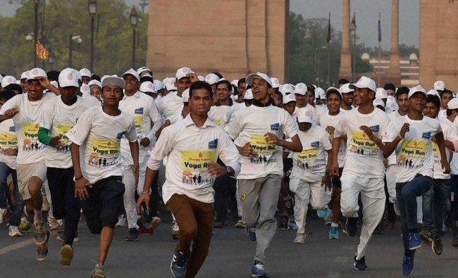 Followers of Brahma Kumari participate in Yoga Run for International Yoga Day celebration...