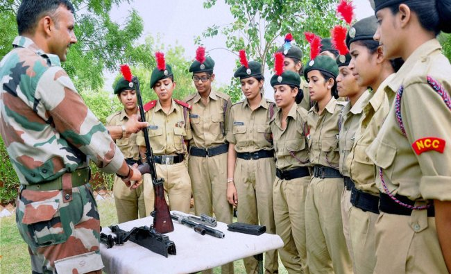 NCC cadets take weapons training during a camp in Bikaner on Sunday...