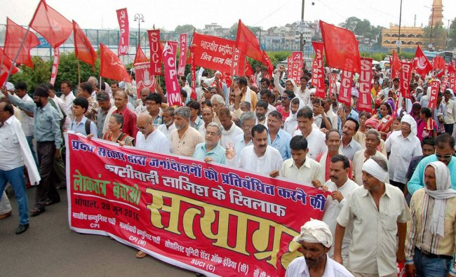Left party activists taking out a rally at Raj Bhawan in Bhopal on Monday, during their \'Satyagrah\'